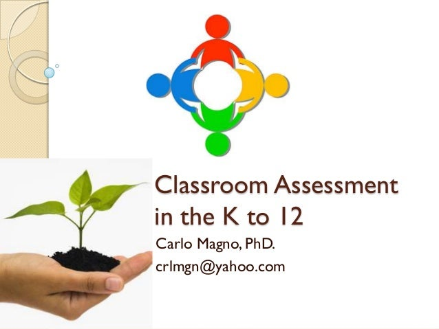 Classroom Assessment in the K to 12 Carlo Magno, PhD. crlmgn@yahoo.com