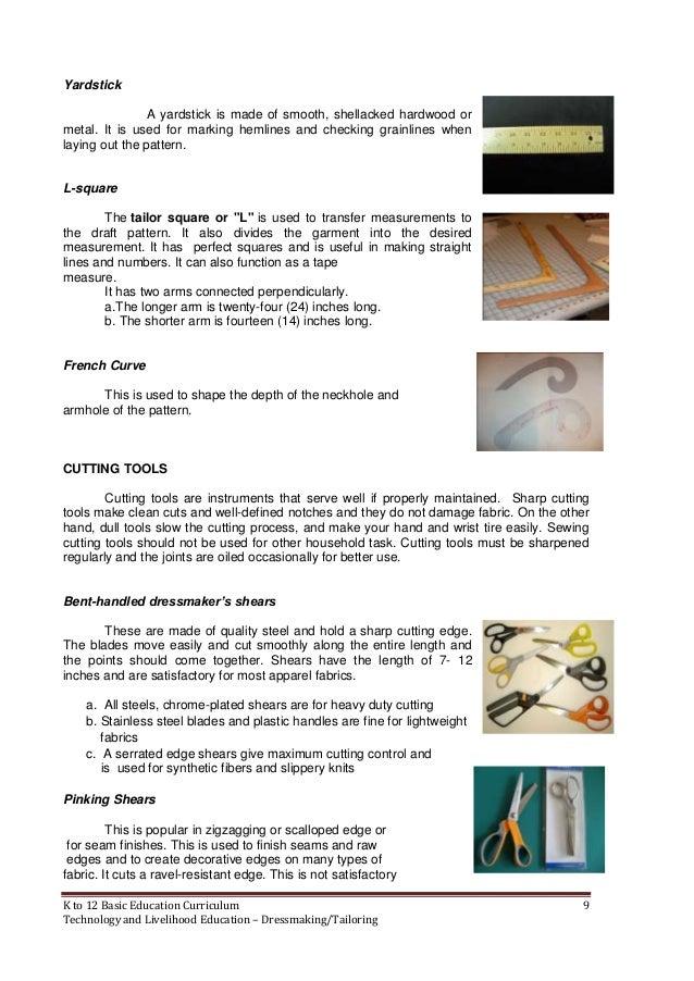 k 12 dress making and tailoring modules