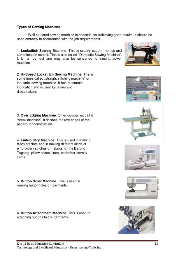 K To 40 Dressmaking Learning Module Adorable Definition Of Sewing Machine