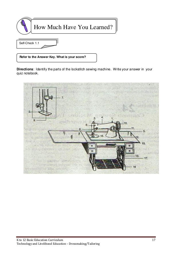 K To 40 Dressmaking Learning Module Simple Parts Of The Sewing Machine Quiz Answers