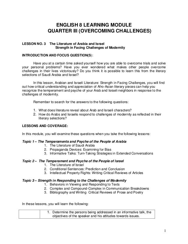 1 ENGLISH 8 LEARNING MODULE QUARTER III (OVERCOMING CHALLENGES) LESSON NO.