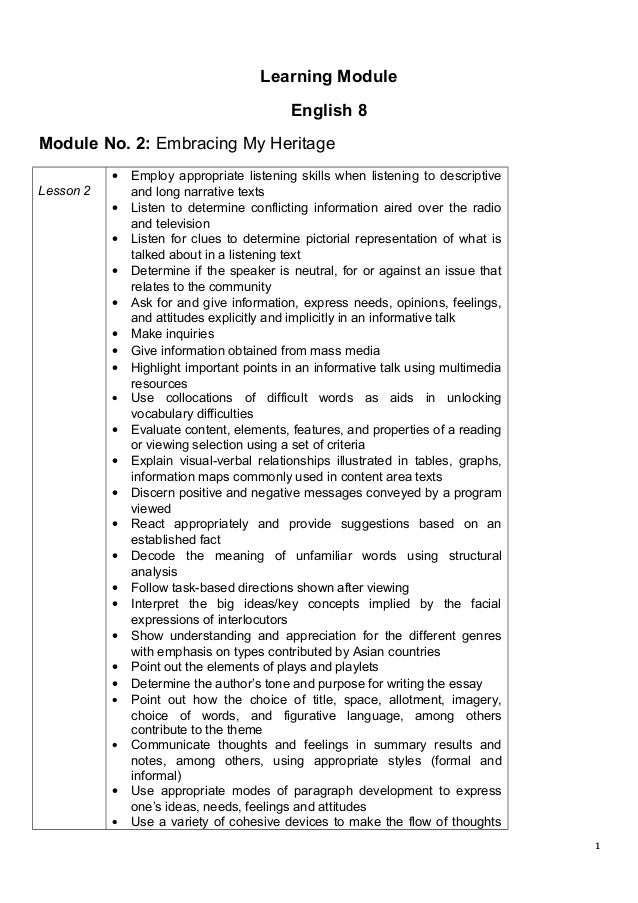 Learning Module English 8 Module No. 2: Embracing My Heritage Lesson 2 • Employ appropriate listening skills when listenin...