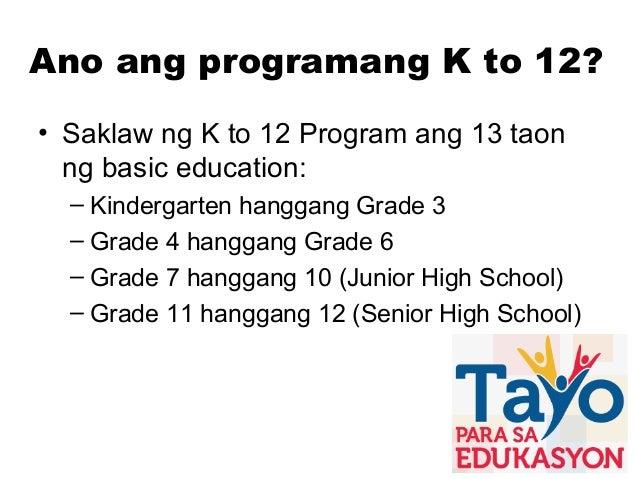 K to 12 presentation tagalog vesion Slide 2