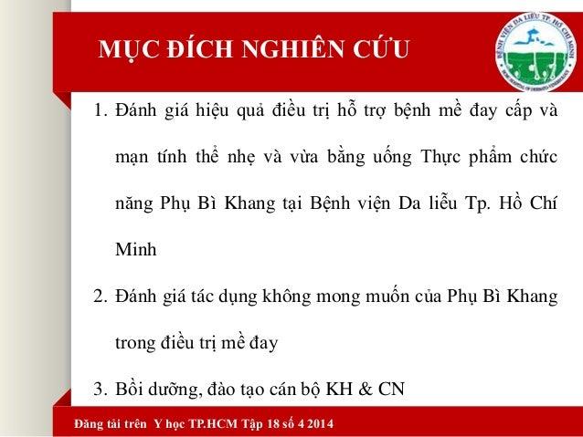 Kết quả nghiên cứu Phụ Bì Khang tại bệnh viện Da Liễu Thành Phố Hồ Chí Minh Slide 2
