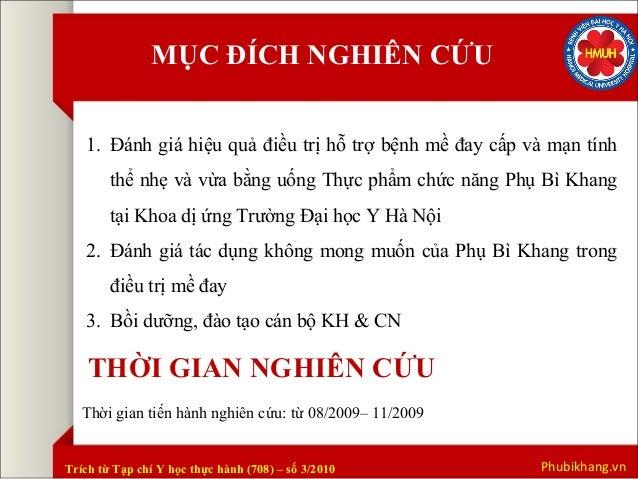 Kết quả nghiên cứu Phụ Bì Khang tại đại học Y Hà Nội Slide 2