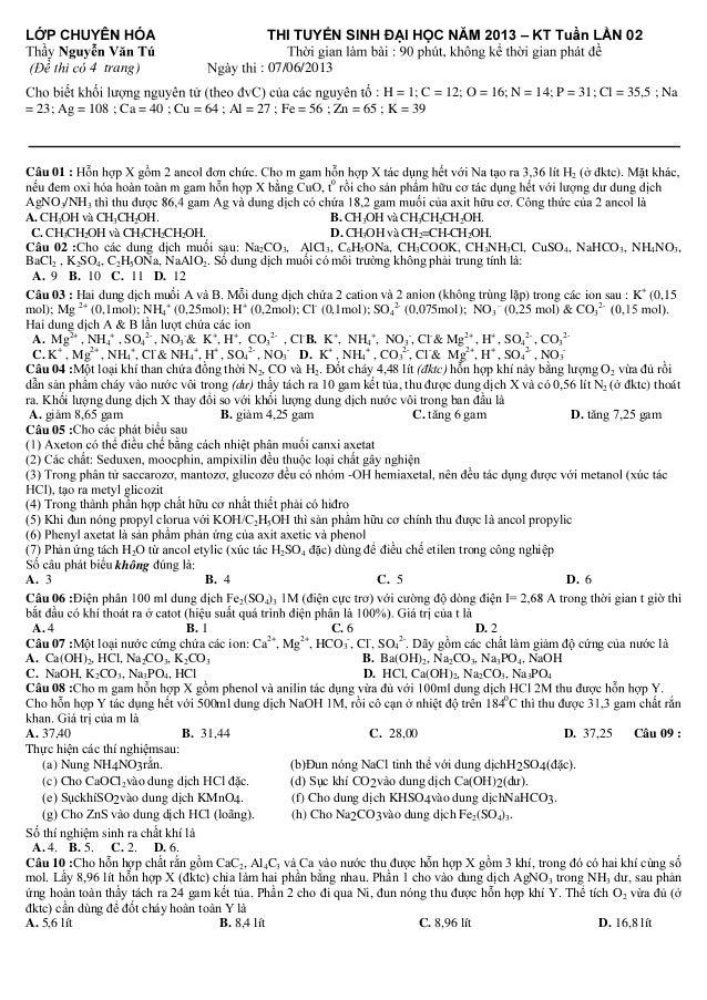 THI TUYỂN S 4 trang)  –  02  : 07/06/2013  : H = 1; C = 12; O = 16; N = 14; P = 31; Cl = 35,...