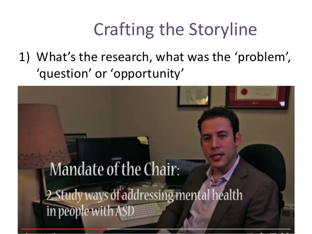 Crafting the Storyline 1) What's the research, what was the 'problem', 'question' or 'opportunity'