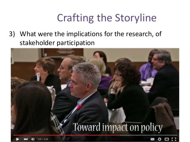 Crafting the Storyline 3) What were the implications for the research, of stakeholder participation