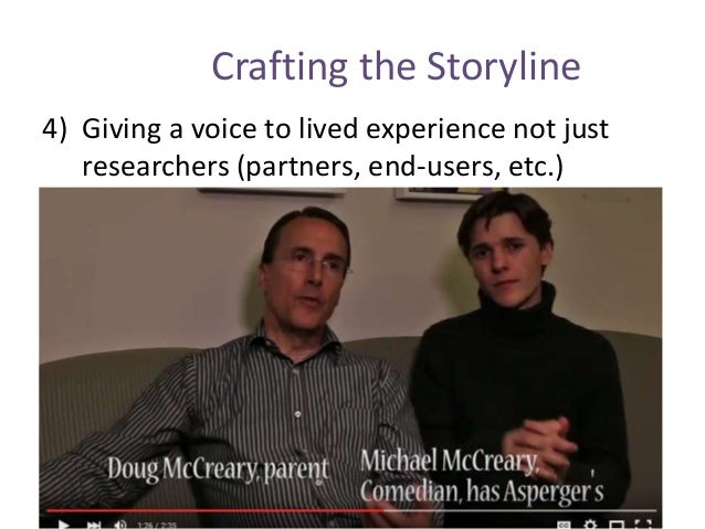 Crafting the Storyline 4) Giving a voice to lived experience not just researchers (partners, end-users, etc.)