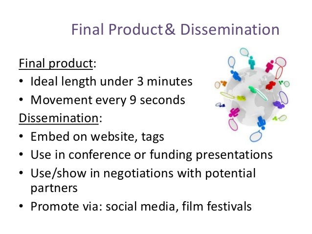 Final Product& Dissemination Final product: • Ideal length under 3 minutes • Movement every 9 seconds Dissemination: • Emb...
