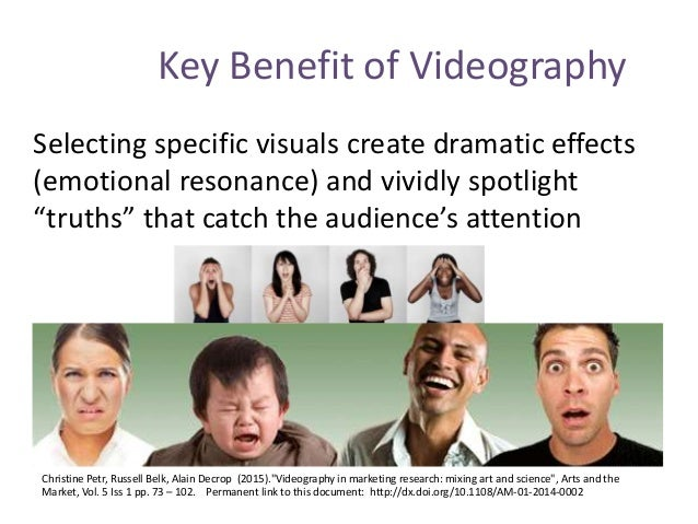 Key Benefit of Videography Selecting specific visuals create dramatic effects (emotional resonance) and vividly spotlight ...
