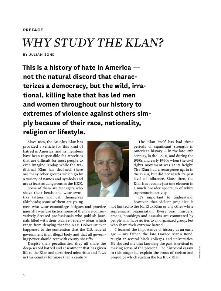 racism and the ku klux klan essay The ku klux klan (kkk) was established after the american civil war when black people were given rights the kkk is a group of white secret societies who oppose the advancement of blacks, jews and other minority groups.