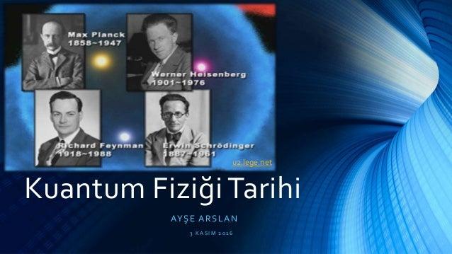 Kuantum Fiziği Tarihi AYŞE ARSLAN 3 K A S I M 20 1 6 u2.lege.net