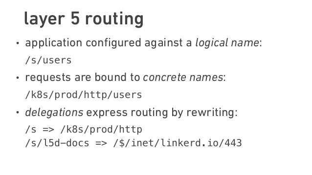 layer 5 routing • application configured against a logical name: /s/users • requests are bound to concrete names: /k8s/pr...