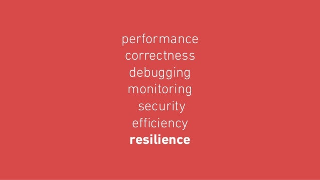 performance correctness debugging monitoring security efficiency resilience