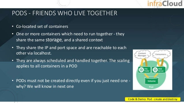 PODS - FRIENDS WHO LIVE TOGETHER • Co-located set of containers • One or more containers which need to run together - they...