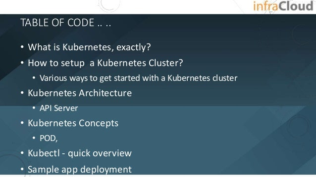 TABLE OF CODE .. .. • What is Kubernetes, exactly? • How to setup a Kubernetes Cluster? • Various ways to get started with...