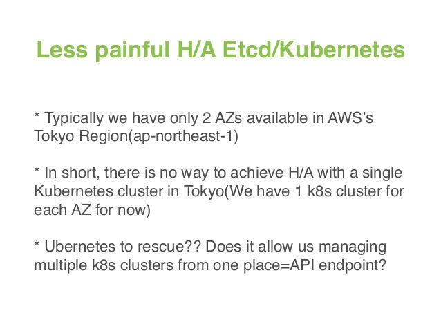 Less painful H/A Etcd/Kubernetes * Typically we have only 2 AZs available in AWS's Tokyo Region(ap-northeast-1) * In short...