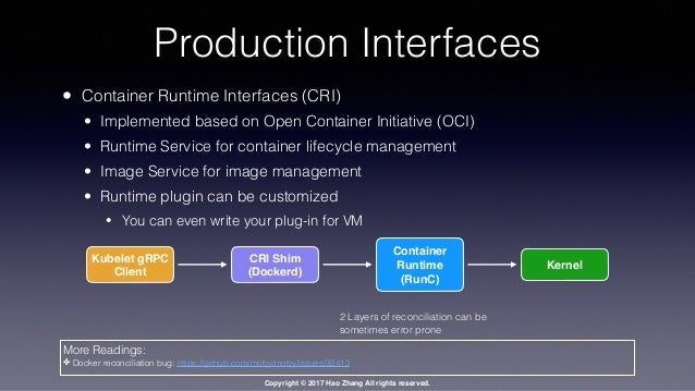 Copyright © 2017 Hao Zhang All rights reserved. Production Interfaces • Container Runtime Interfaces (CRI) • Implemented b...