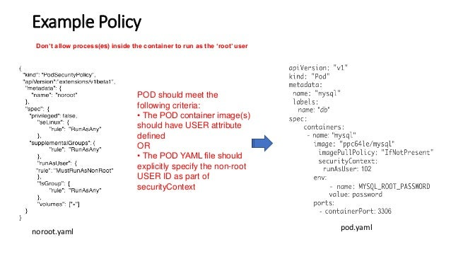 Example Policy Don't allow process(es) inside the container to run as the 'root' user POD should meet the following criter...