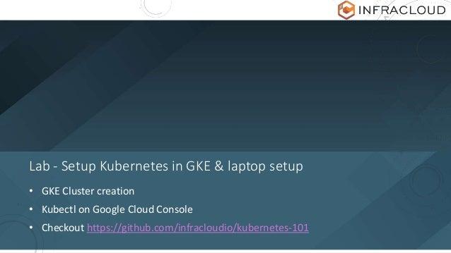 Lab - Setup Kubernetes in GKE & laptop setup • GKE Cluster creation • Kubectl on Google Cloud Console • Checkout https://g...