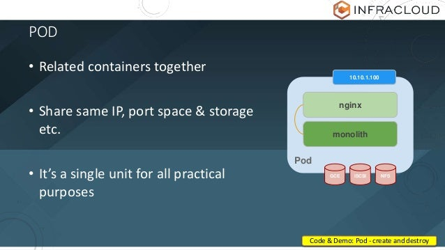 POD • Related containers together • Share same IP, port space & storage etc. • It's a single unit for all practical purpos...