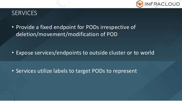 SERVICES • Provide a fixed endpoint for PODs irrespective of deletion/movement/modification of POD • Expose services/endpo...