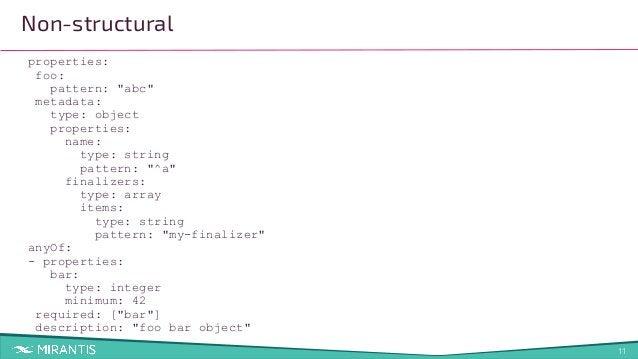"11 properties: foo: pattern: ""abc"" metadata: type: object properties: name: type: string pattern: ""^a"" finalizers: type: a..."
