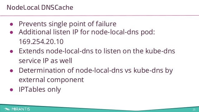 25 NodeLocal DNSCache ● Prevents single point of failure ● Additional listen IP for node-local-dns pod: 169.254.20.10 ● Ex...
