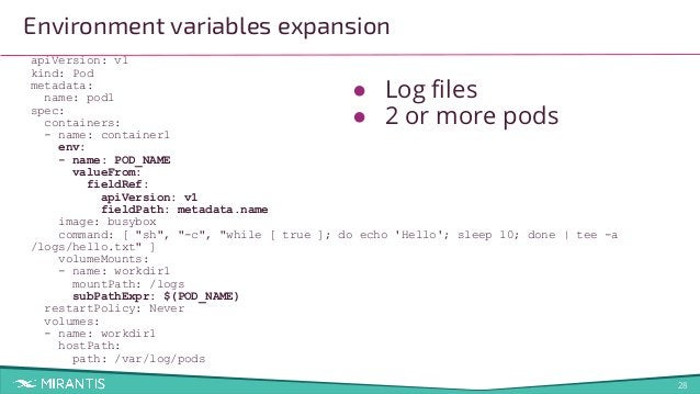28 Environment variables expansion apiVersion: v1 kind: Pod metadata: name: pod1 spec: containers: - name: container1 env:...