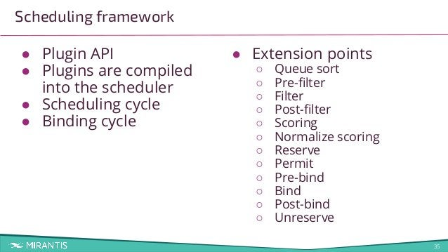 35 Scheduling framework ● Plugin API ● Plugins are compiled into the scheduler ● Scheduling cycle ● Binding cycle ● Extens...
