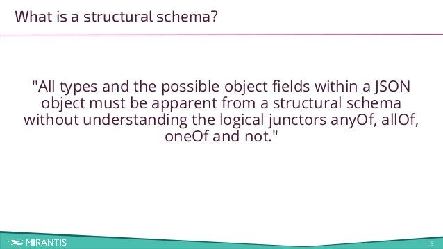 """9 """"All types and the possible object fields within a JSON object must be apparent from a structural schema without understa..."""