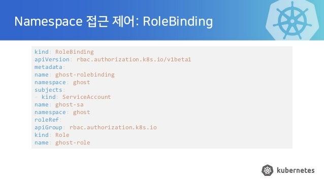 Namespace 접근 제어: RoleBinding kind: RoleBinding apiVersion: rbac.authorization.k8s.io/v1beta1 metadata: name: ghost-rolebin...