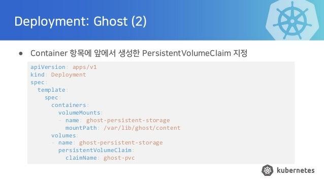 Deployment: Ghost (2) ● Container 항목에 앞에서 생성한 PersistentVolumeClaim 지정 apiVersion: apps/v1 kind: Deployment spec: template...