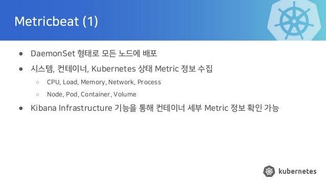 Metricbeat (1) ● DaemonSet 형태로 모든 노드에 배포 ● 시스템, 컨테이너, Kubernetes 상태 Metric 정보 수집 ○ CPU, Load, Memory, Network, Process ○ N...