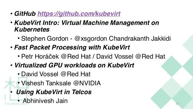 3 3 • GitHub https://github.com/kubevirt • KubeVirt Intro: Virtual Machine Management on Kubernete s  • Stephen Gordon - @...