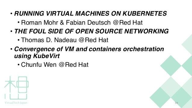 3 4 • RUNNING VIRTUAL MACHINES ON KUBERNETE S  • Roman Mohr & Fabian Deutsch @Red Ha t  • THE FOUL SIDE OF OPEN SOURCE NET...