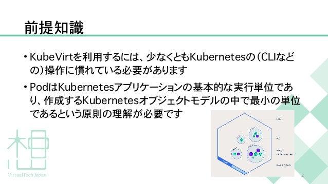 前提知識 • K u b e V i r t を利用するには、少なくとも K u b e r n e t e s の( C L I など の)操作に慣れている必要があります   • P o d は K u b e r n e t e s アプリ...