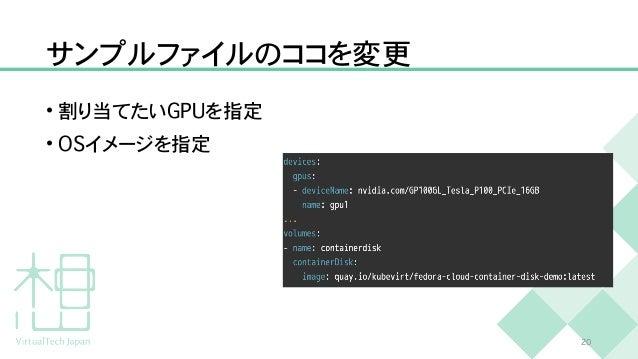 サンプルファイルのココを変更 • 割り当てたい G P U を指定   • O S イメージを指定 2 0