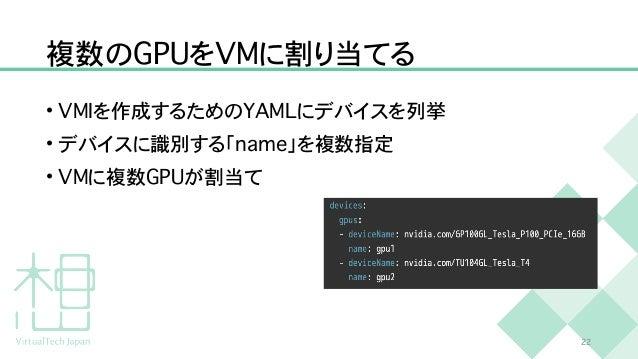 複数の G P U を V M に割り当てる • V M I を作成するための Y A M L にデバイスを列挙   • デバイスに識別する「 n a m e 」を複数指定   • V M に複数 G P U が割当て 2 2