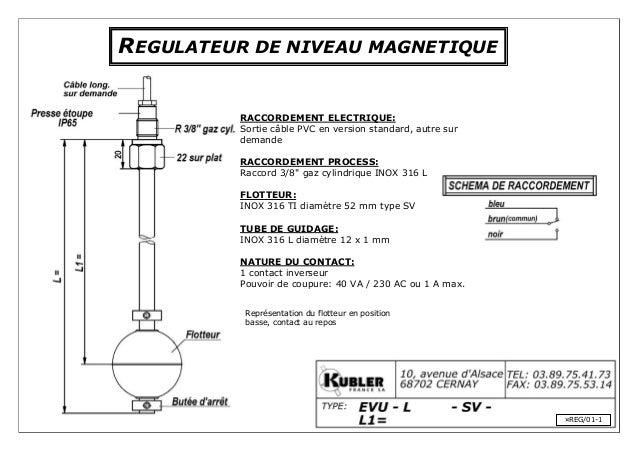 REGULATEUR DE NIVEAU MAGNETIQUE RACCORDEMENT ELECTRIQUE: Sortie câble PVC en version standard, autre sur demande RACCORDEM...