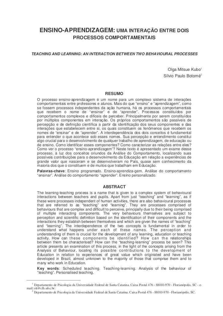 ENSINO-APRENDIZAGEM: UMA INTERAÇÃO ENTRE DOIS                                  PROCESSOS COMPORTAMENTAIS   TEACHING AND LE...