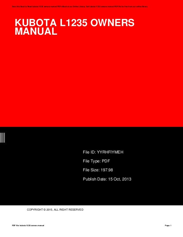 kubota l1235 owners manual rh slideshare net