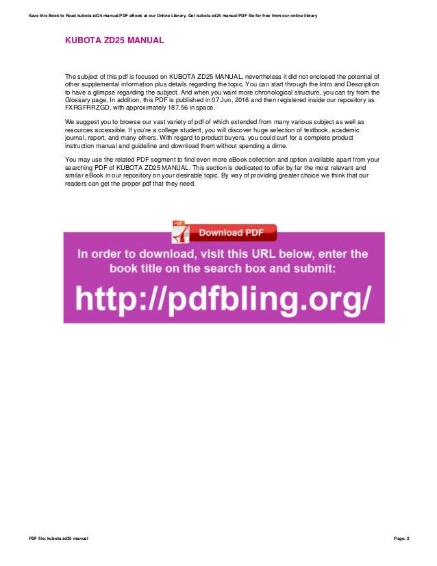Incredible Kubota Zd25 Manual Wiring Database Gramgelartorg