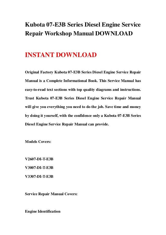 Kubota 07 E3 B Series Diesel Engine Service Repair