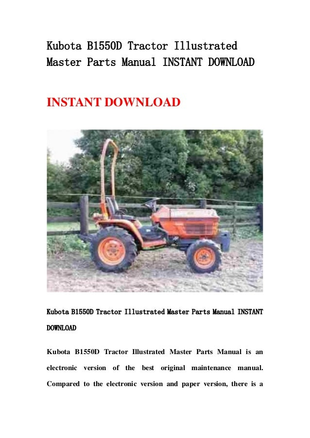 Kubota Tractor Parts Lookup : Kubota b d tractor illustrated master parts manual