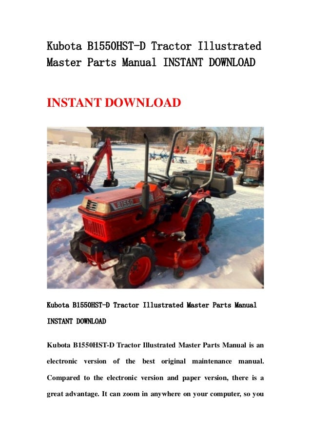 kubota b1550 hst d tractor illustrated master parts manual instant do rh slideshare net kubota b1550 hst manual kubota b1550 hst manual