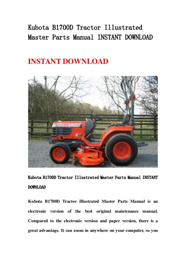 Kubota B1700 D Tractor Illustrated Master Parts Manual Instant Downlo
