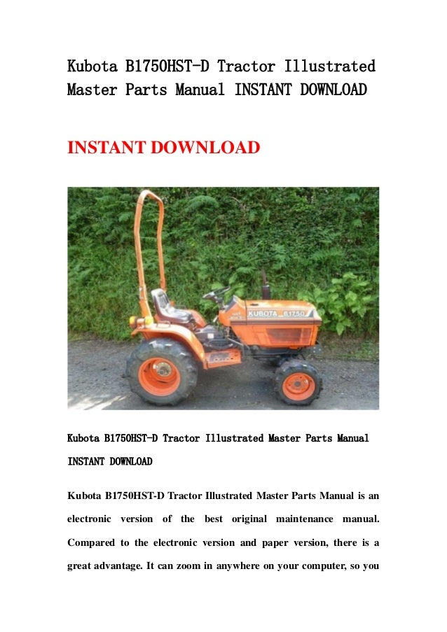 kubota b1750 hst d tractor illustrated master parts manual instant do…  slideshare