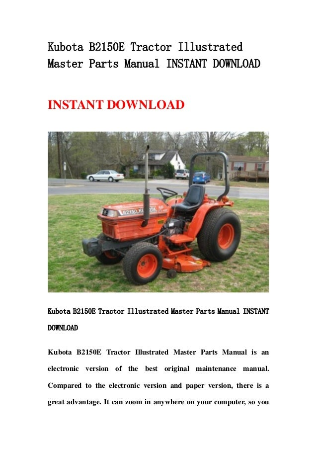 Kubota B2150 E Tractor Illustrated Master Parts Manual Instant Downlo